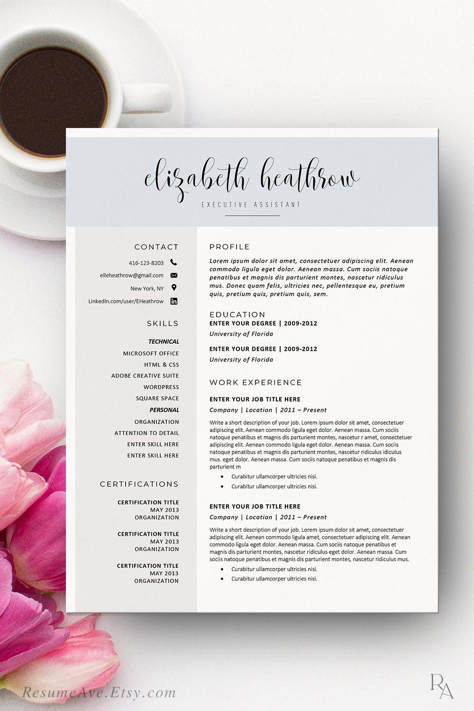 Creative nurse resume template Word with blue header