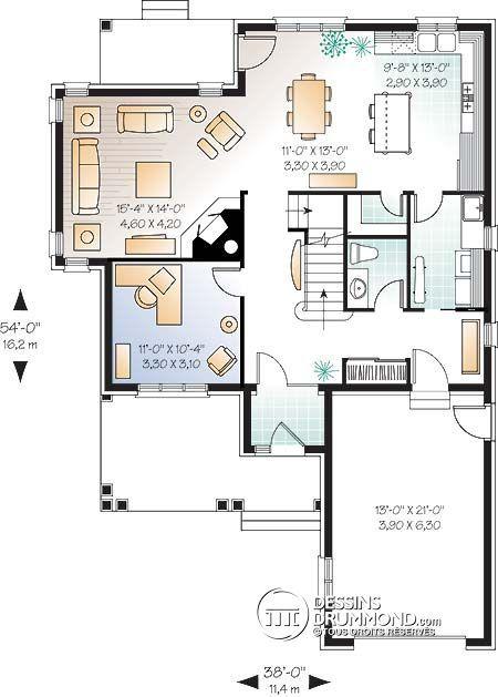 Détail du plan de Maison unifamiliale W3821 idée plan maison