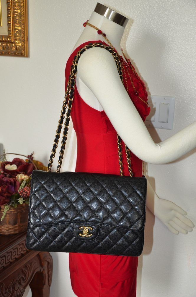 1a97d3cdf86c 100% AUTH CHANEL JUMBO CLASSIC 2.55 CAVIAR BLACK SINGLE FLAP GOLD HW GHW  $4900 - Handbags & Bags