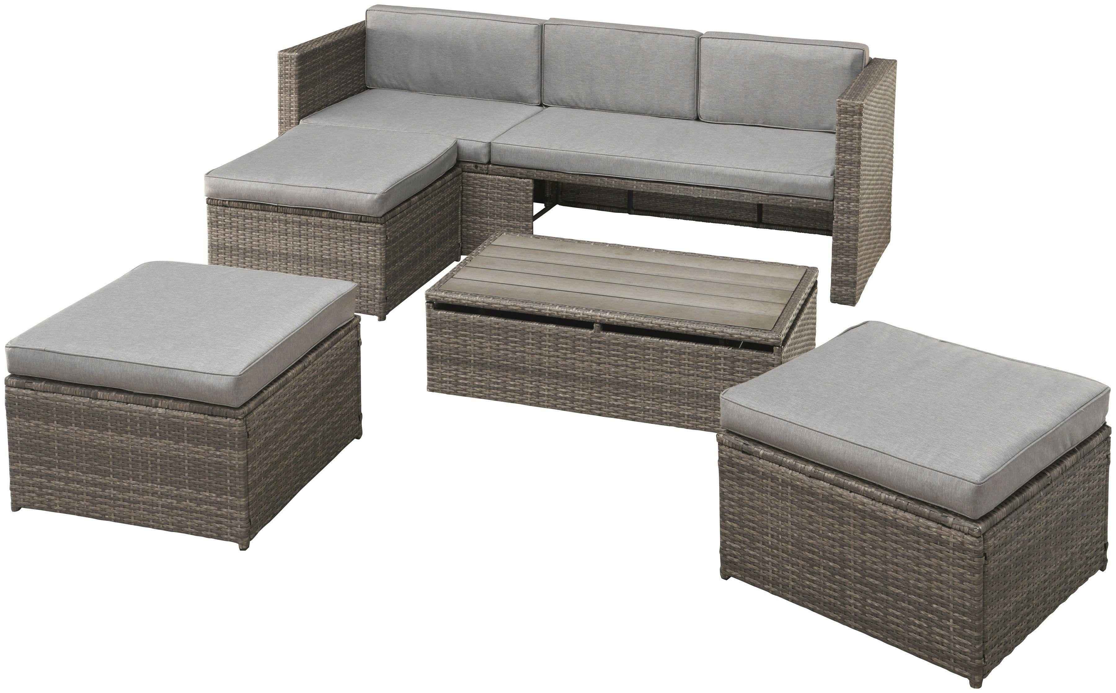 Konifera Loungeset Lagos Premium 13 Tlg 3er Sofa 3 Hocker Tisch Polyrattan Polyrattan Gartenmobel 3er Sofa