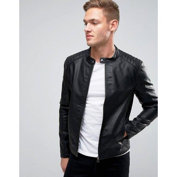 4389475ad Jack & Jones Faux Leather Biker Jacket (105 NZD) ❤ liked on ...