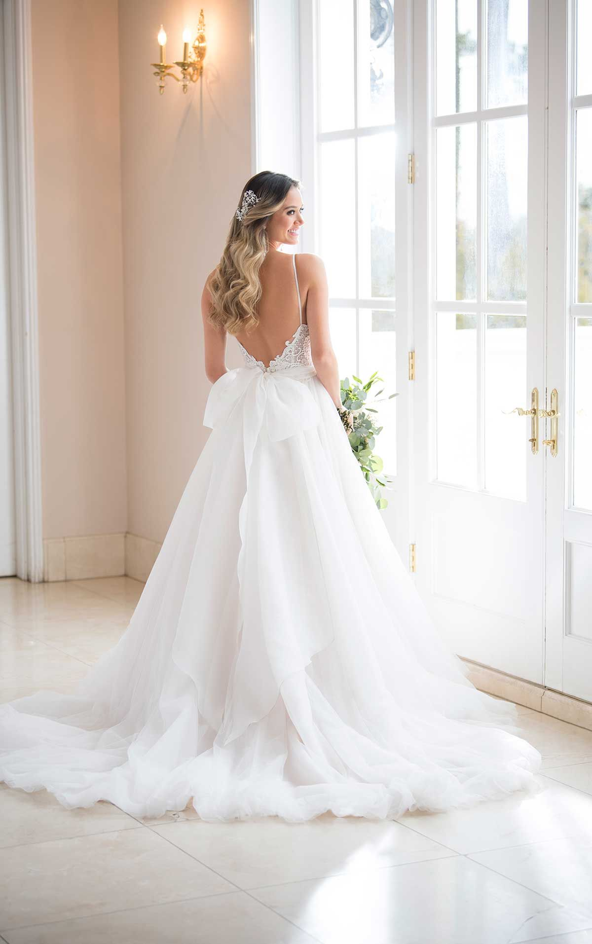 Romantic boho ballgown wedding dress wedding dress v