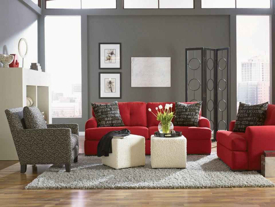 Raymour And Flanigan Furniture Hm Richards Furniture Red Furniture Living Room Red Living Room Decor Red Couch Living Room