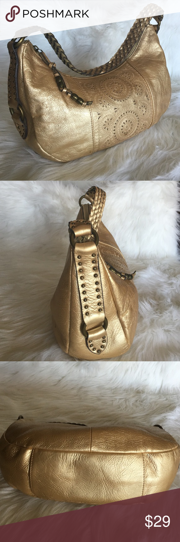 "💯Genuine Leather FOSSIL  GOLDEN LASER CUT BAG Soft as a butter,light as a feather golden  bag. Preowned in good condition,no any sign of wearing outside ,few small stains inside on the lining. L 12,5"", H  8"" ,D4"" Handle D 10"" Fossil Bags"