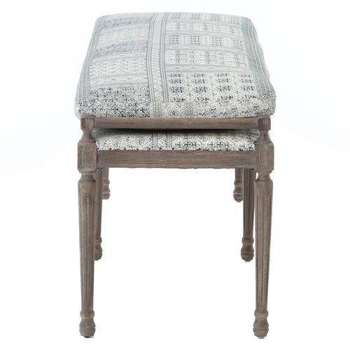 Delicieux Rene French Country Blue Grey Batik Oak 67 Inch Dining Bench