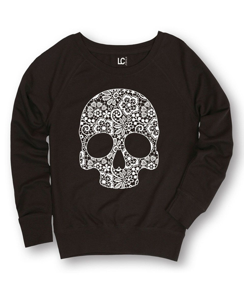 Take a look at this Black Skull Slouchy Pullover today!