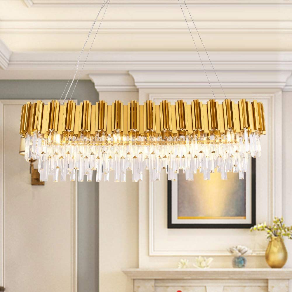 Meelighting W43 3 Dining Room Modern Crystal Chandelier Lights Luxury Pendant Ceiling Light Oval In 2020 Ceiling Pendant Lights Ceiling Lights Contemporary Chandelier