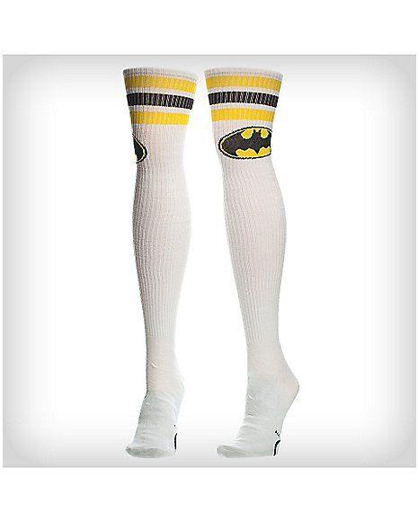 62859d4c181 Batman White Athletic Stripe Over the Knee Socks - Spencer s
