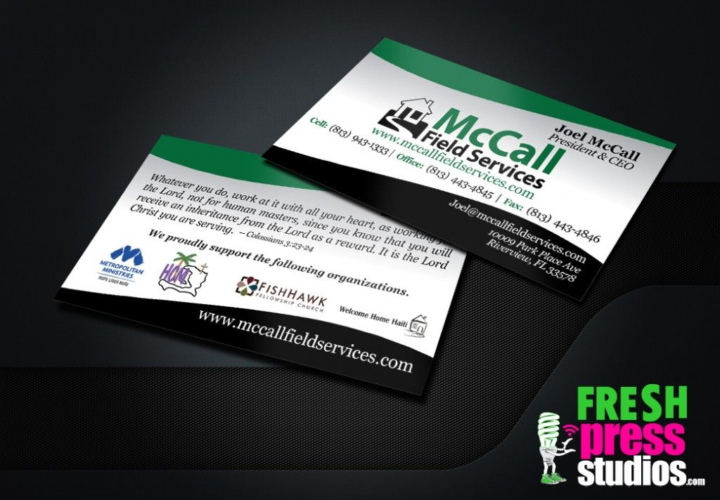 Business Cards Fresh Press Studios Designed And Printed For Mccall Field Services Businesscards Graphicdesign