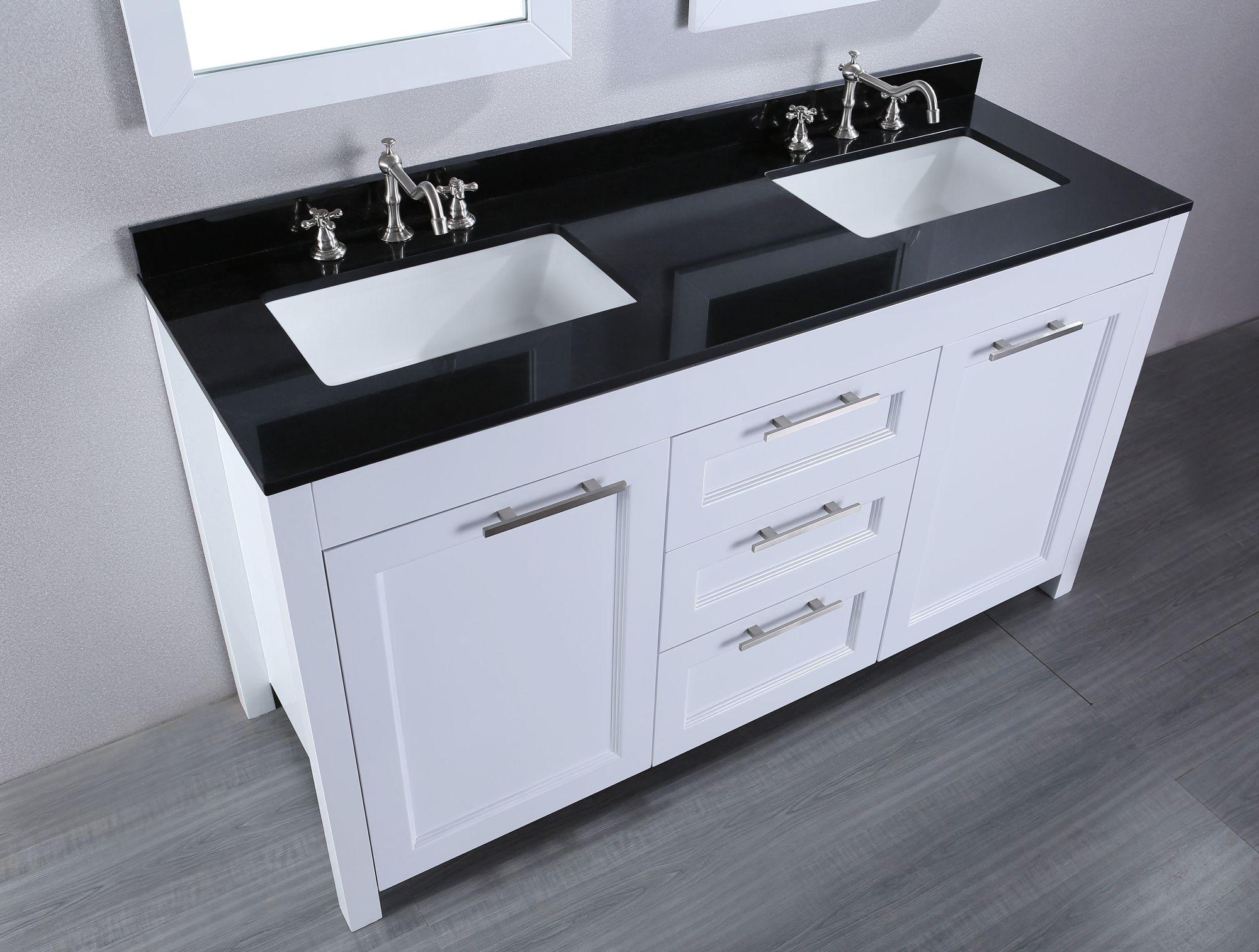 Contemporary Bathroom Vanities with Tops Black Granite Double