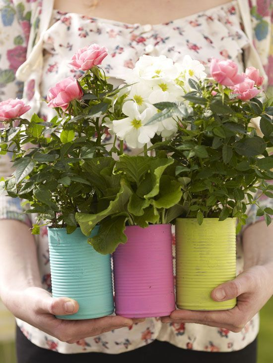 Lake colorfully painted tin cans : plant herbs in them for the kitchen or succulents. Holes in bottom, pebbles then soil. Place on cute plate!colorfully painted tin cans : plant herbs in them for the kitchen or succulents. Holes in bottom, pebbles then soil. Place on cute plate!