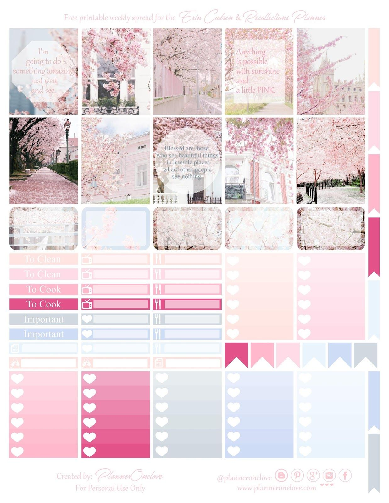 Free Printable Cherry Blossoms Planner Stickers From Planner Onelove
