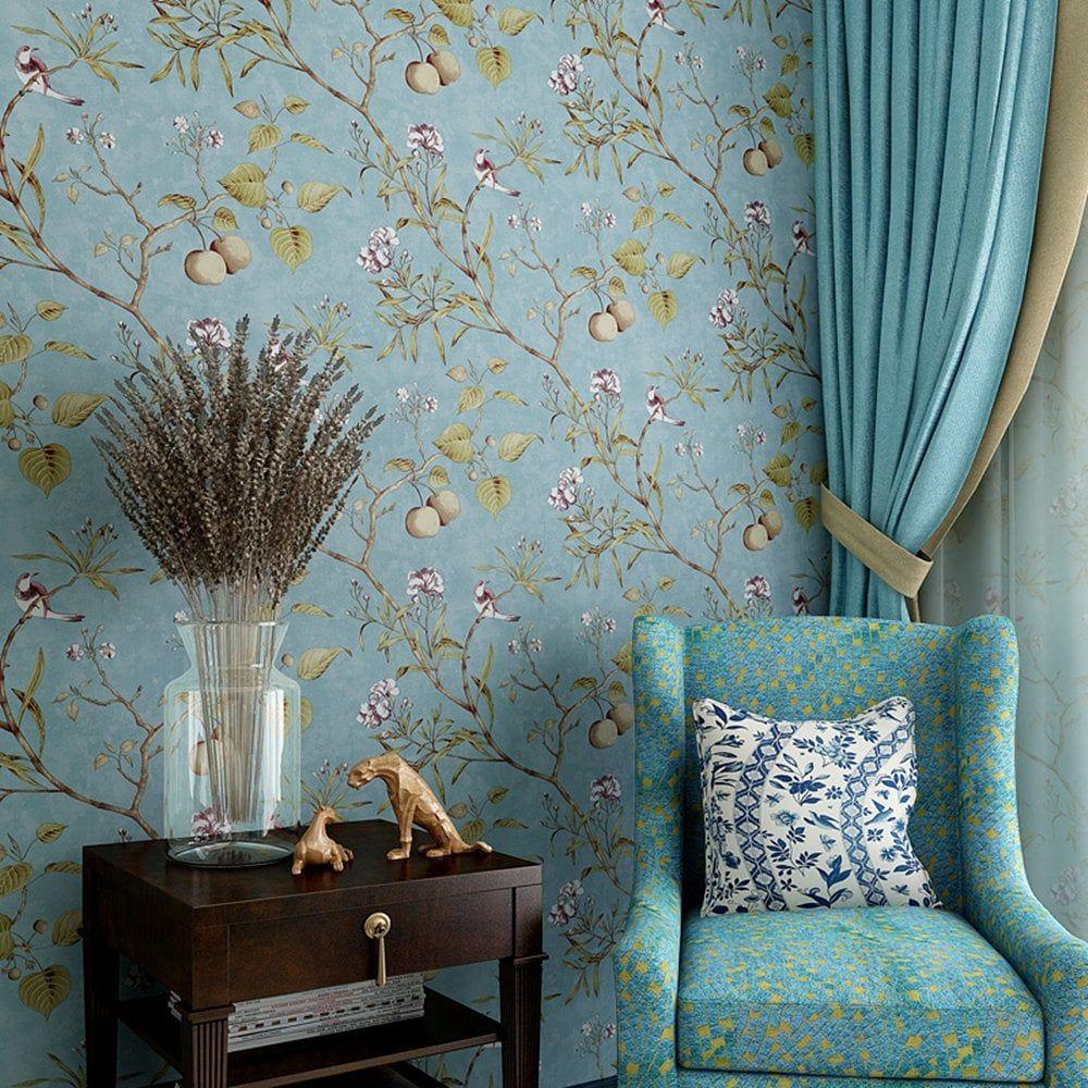 Blooming Wall Vintage Flowers And Birds Wallpaper Bird Wallp