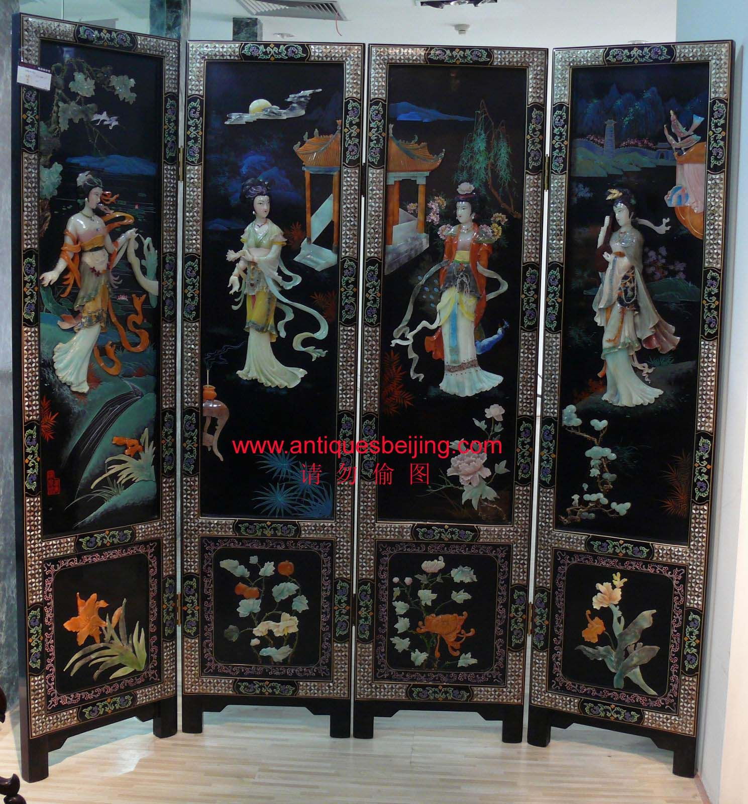 Mother Of Pearl Inlay Wooden Mini Folding Screen Asian: Oriental Room Dividers - Bing Images