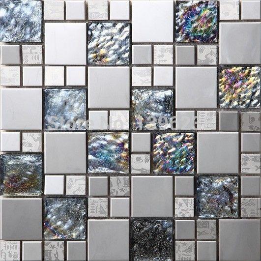 Black Metal Crystal Iridescent Glass 3d Mosaic Tile Wall Tile
