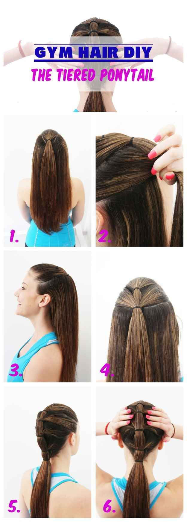 Gym hair tutorial the tiered ponytail peinados pinterest gym
