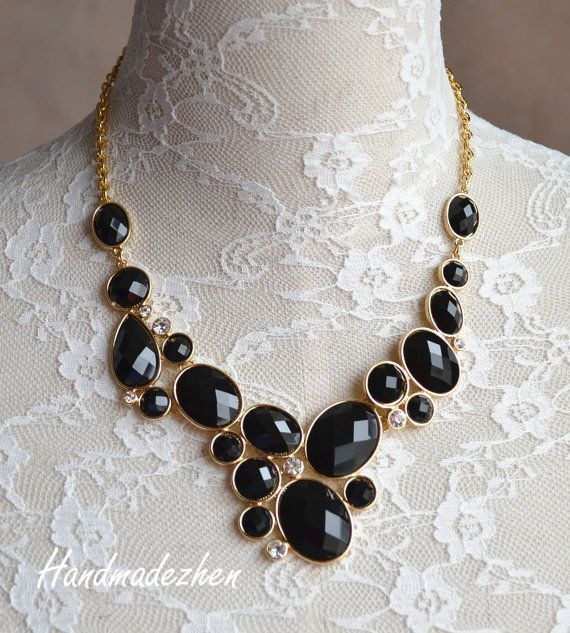 39# Black necklace bubble cluster necklace Beaded Jewelry,Short necklace bib necklace,statement necklace,pendant,Gift