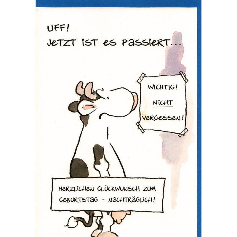Geburtstagskarte Nachtra Glich Witzig Geburtstag Vergessen Kuh