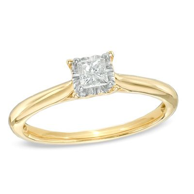 1 5 Ct Princess Cut Diamond Solitaire Engagement Ring In 10k Gold