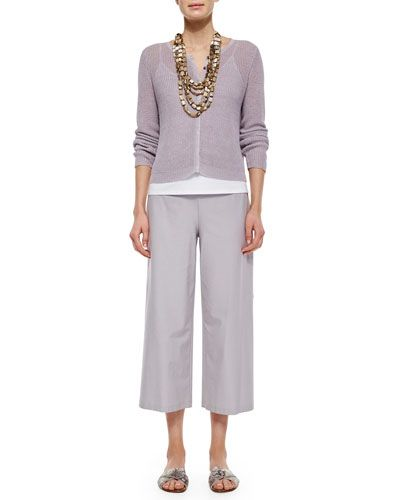 T9XJD Eileen Fisher Wide-Leg Washable-Crepe Cropped Pants