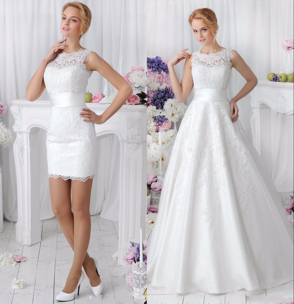 Elegant 2 in 1 Lace Wedding Dress Detachable Skirt High Neck Two ...