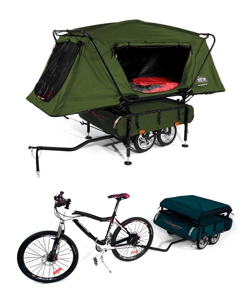 Bicycle Camper Trailer In 2020 Tent Cot Bike Camping Bicycle