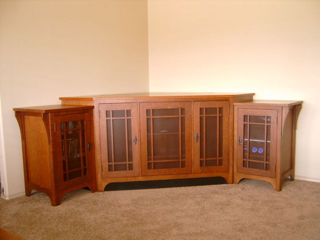 Great Built In Corner Tv Cabinets | Quater Sawn Red Oak Corner Entertainment  Center With Perforated Metal