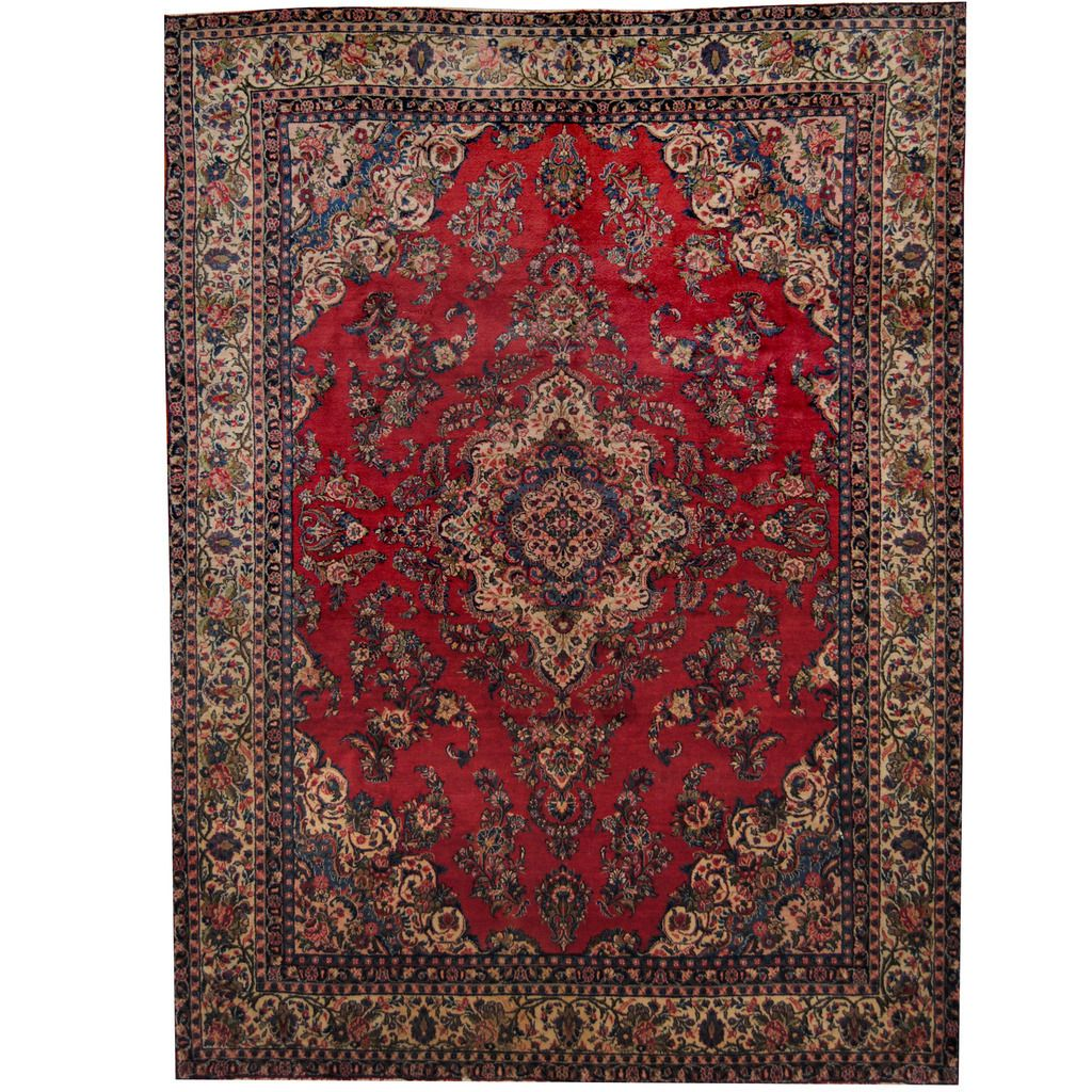 Herat Oriental Persian Hand Knotted 1960 S Semi Antique Sarouk Red Ivory Rug