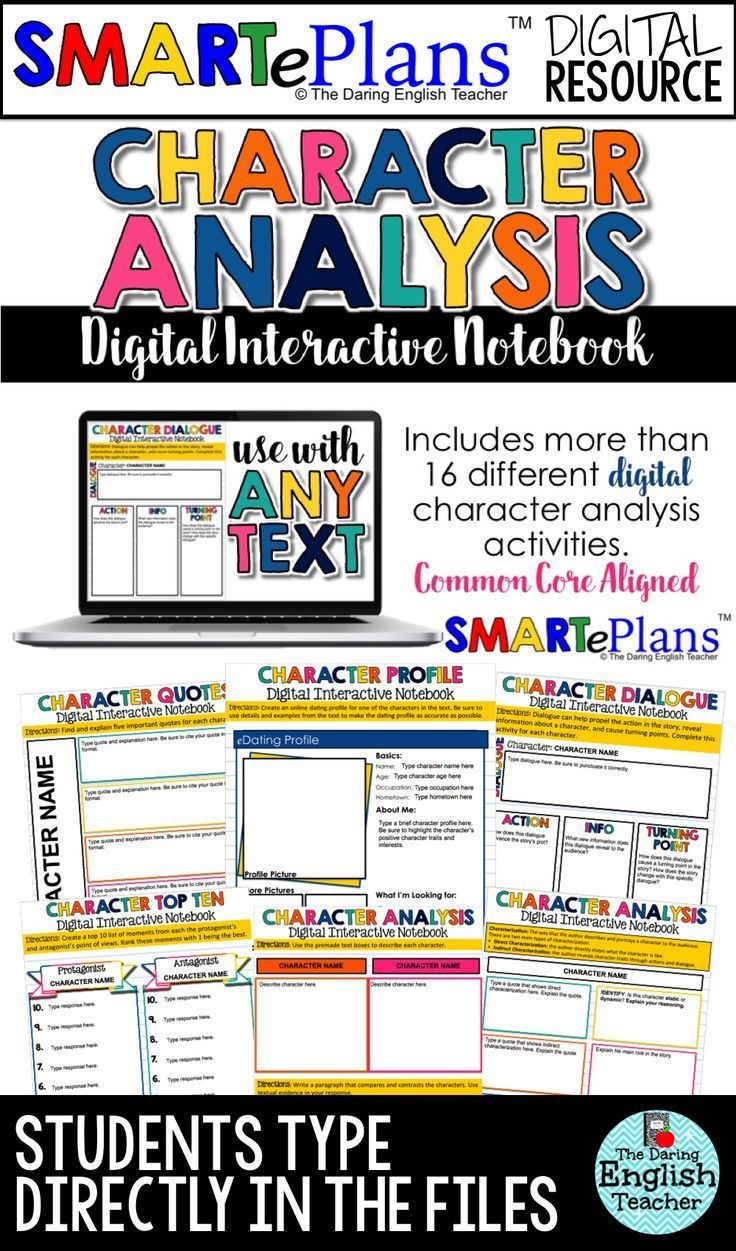 Smarteplans Digital Character Analysis Interactive Notebook For