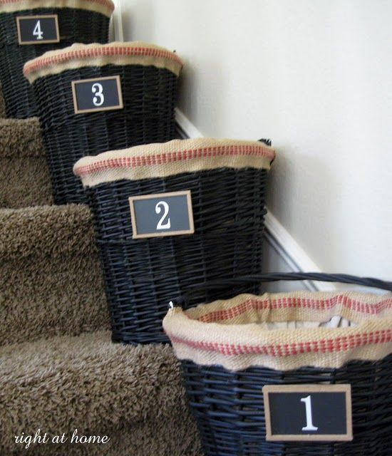 Junk Baskets Along Stairs. Would Be Nice For Upstairs Bedrooms, Put Stuff  If It
