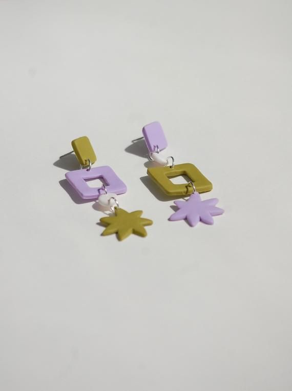 Photo of Lilac and Fern Mismatch Dangles / Abstract Statement Shapes / Polymer Clay Earrings