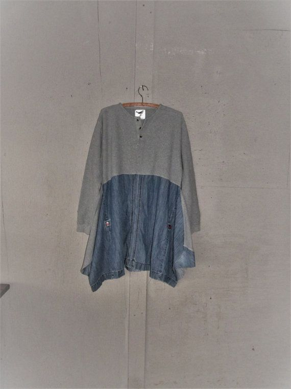 upcycled+tunic+dress+Bohemian+denim+clothing+by+lillienoradrygoods