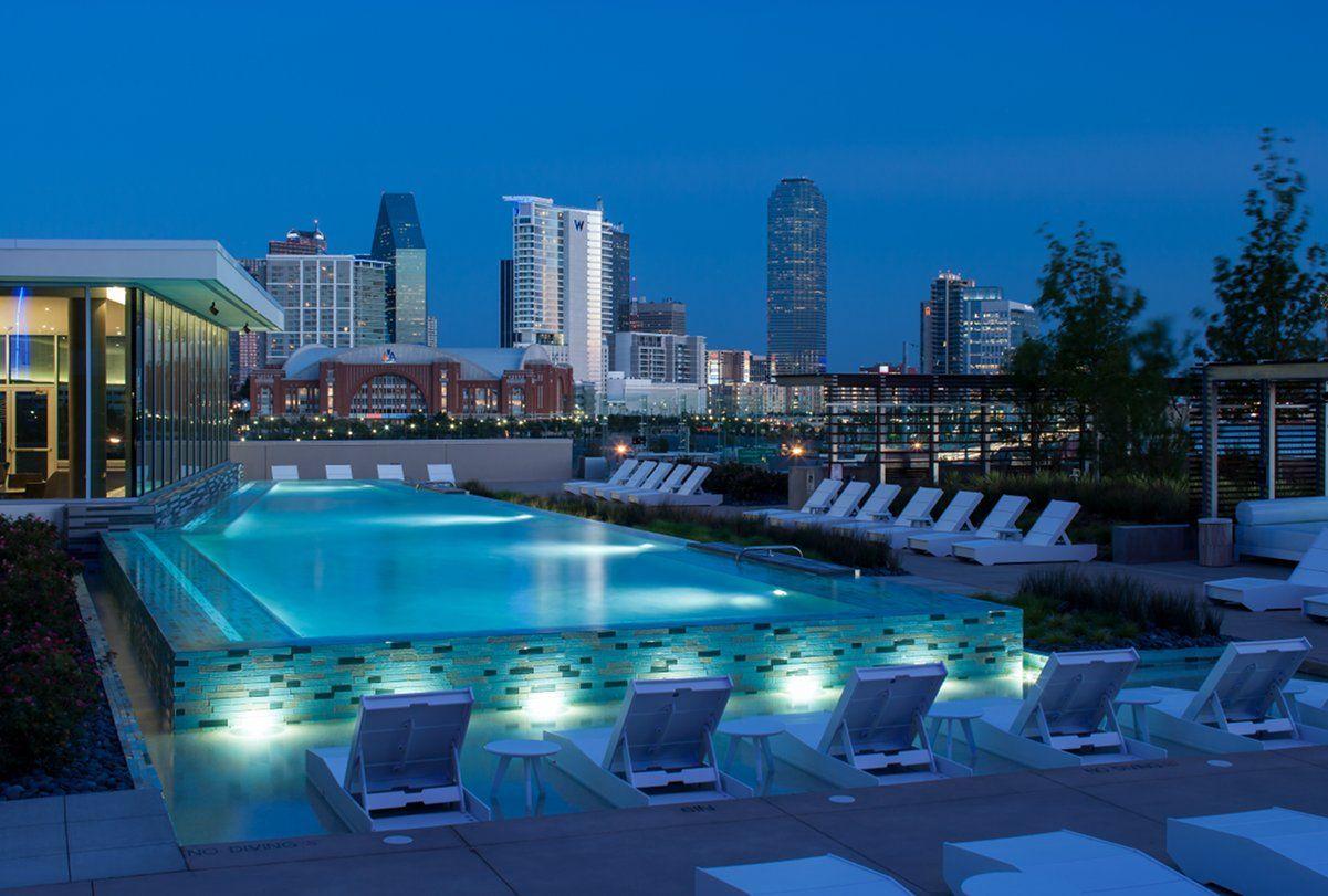 Camden Design District Apartments saltwater infinity edge pool | 1400 hi line amenities | pinterest