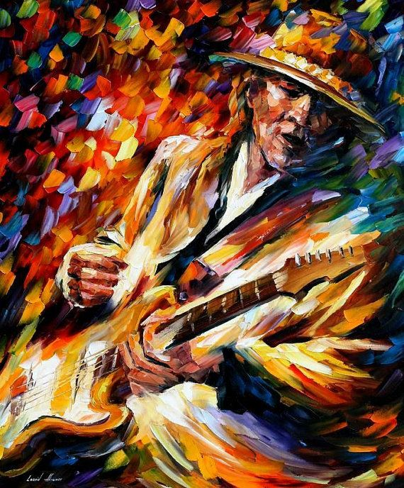 Stevie Ray Vaughan Palette Knife Modern Wall Art Textured Oil Painting On Canvas By Leonid Afr Oil Painting Texture Stevie Ray Vaughan Oil Painting On Canvas