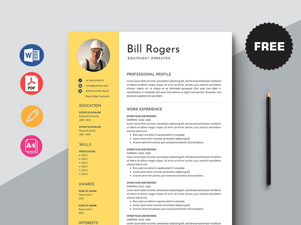 Free equipment operator resume template free download in