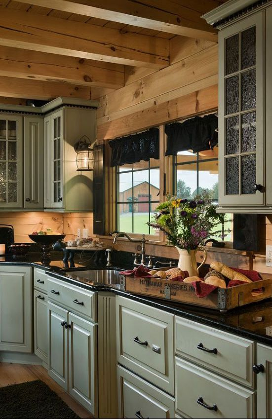 How to light a country style kitchen reviews ratings prices glass doors dark Log home kitchen design ideas