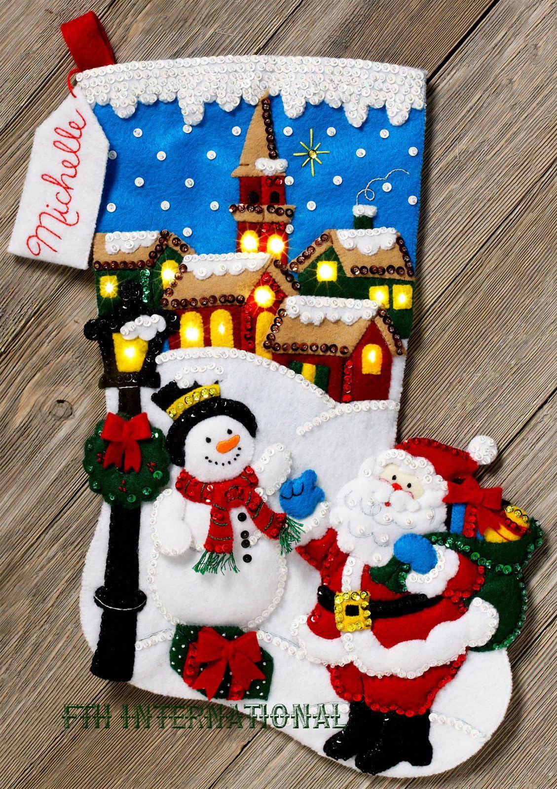 "Birdhouse Bucilla Folksy Snowman ~ 18/"" Felt Christmas Stocking Kit #85267 Birds"