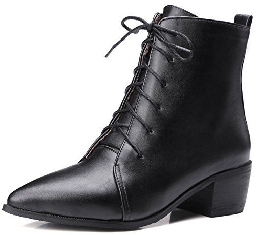 3755b4eead1 Summerwhisper Womens Sexy Pointed Toe Blocked Mid Heel Laceup Patent Leather  Short Boots Black 115 BM US -- Continue to the product at the image li…