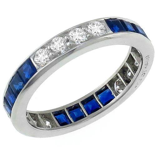 Estate Tiffany & Co 0.85ct Round Cut Diamond 1.20ct Square Cut Sapphire Eternity Platinum Wedding Band