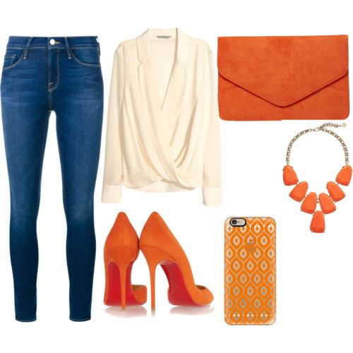 b074fc0b88c pop of orange by emmahhayes on Polyvore featuring polyvore fashion style  H M Frame Denim Christian Louboutin Dorothy Perkins Kendra Scott Casetify  women s ...