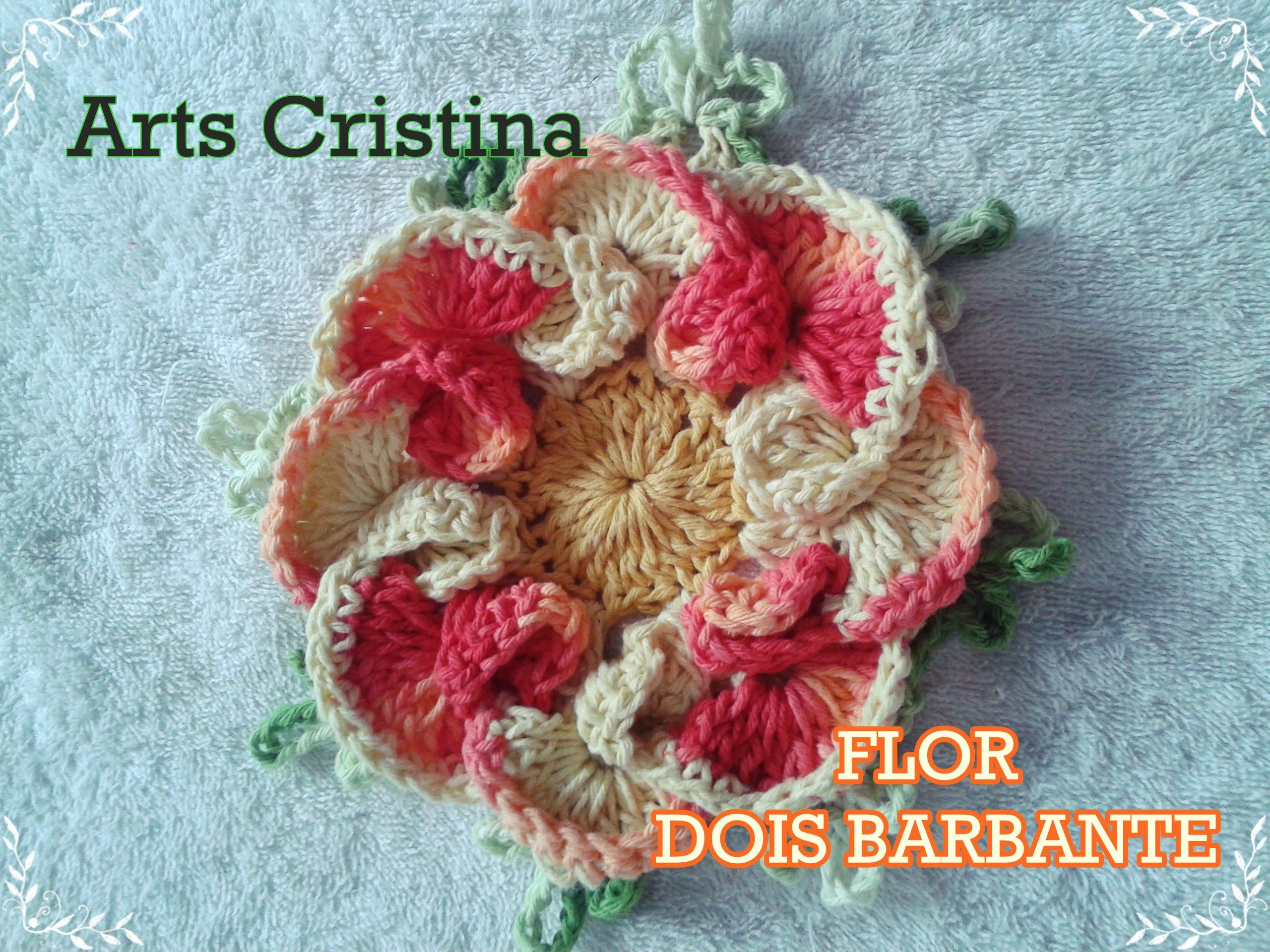FLOR DE CROCHE DOIS BARBANTES | ARTS CRISTINA