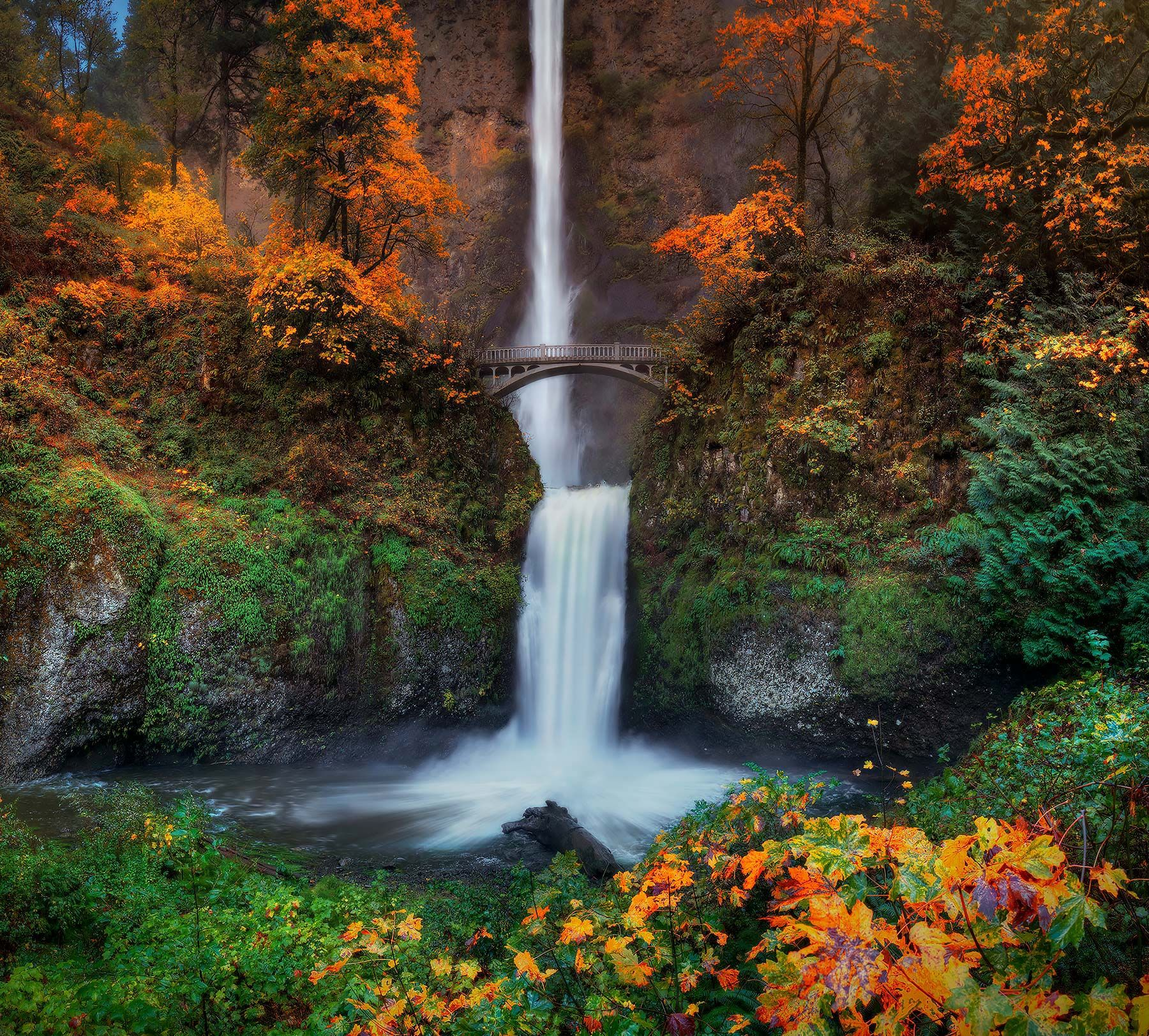 Places To Visit In The Fall In Usa: Multnomah Falls And Benson Bridge In Oregon
