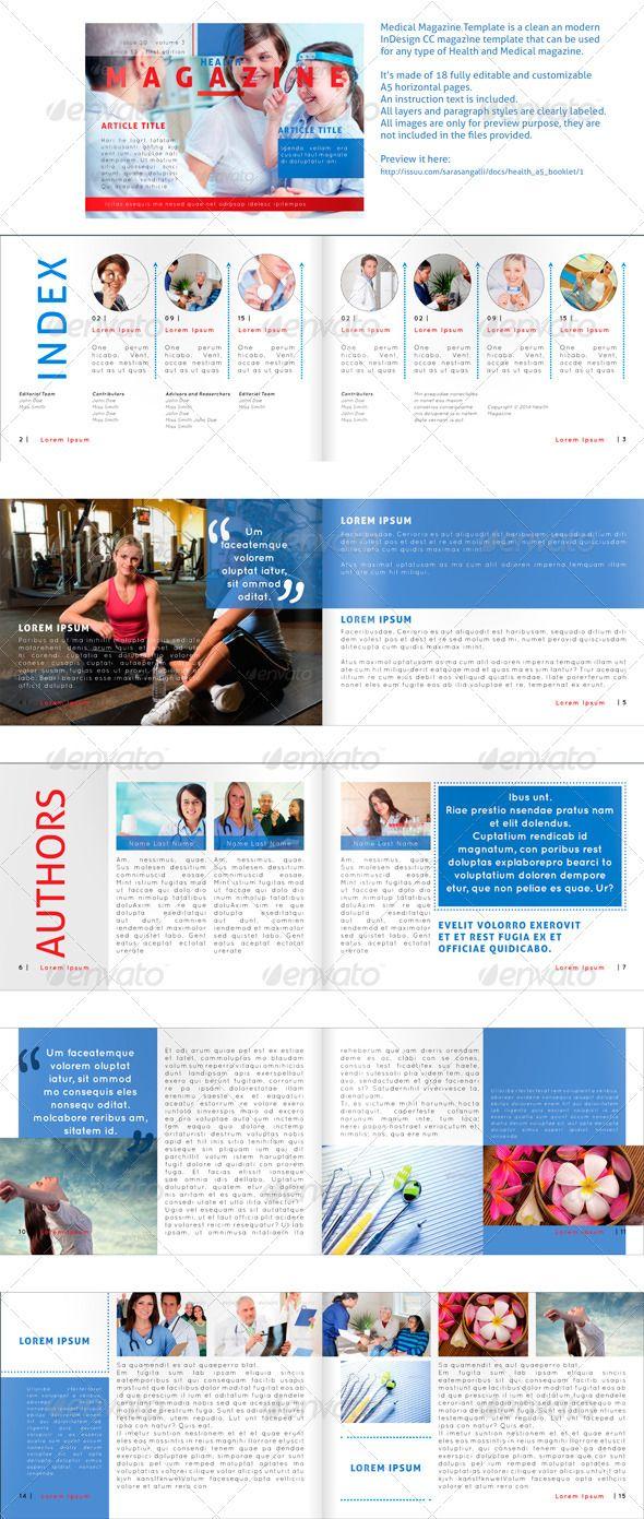 Medical Magazine - Horizontal A5 Template | Print templates, Font ...