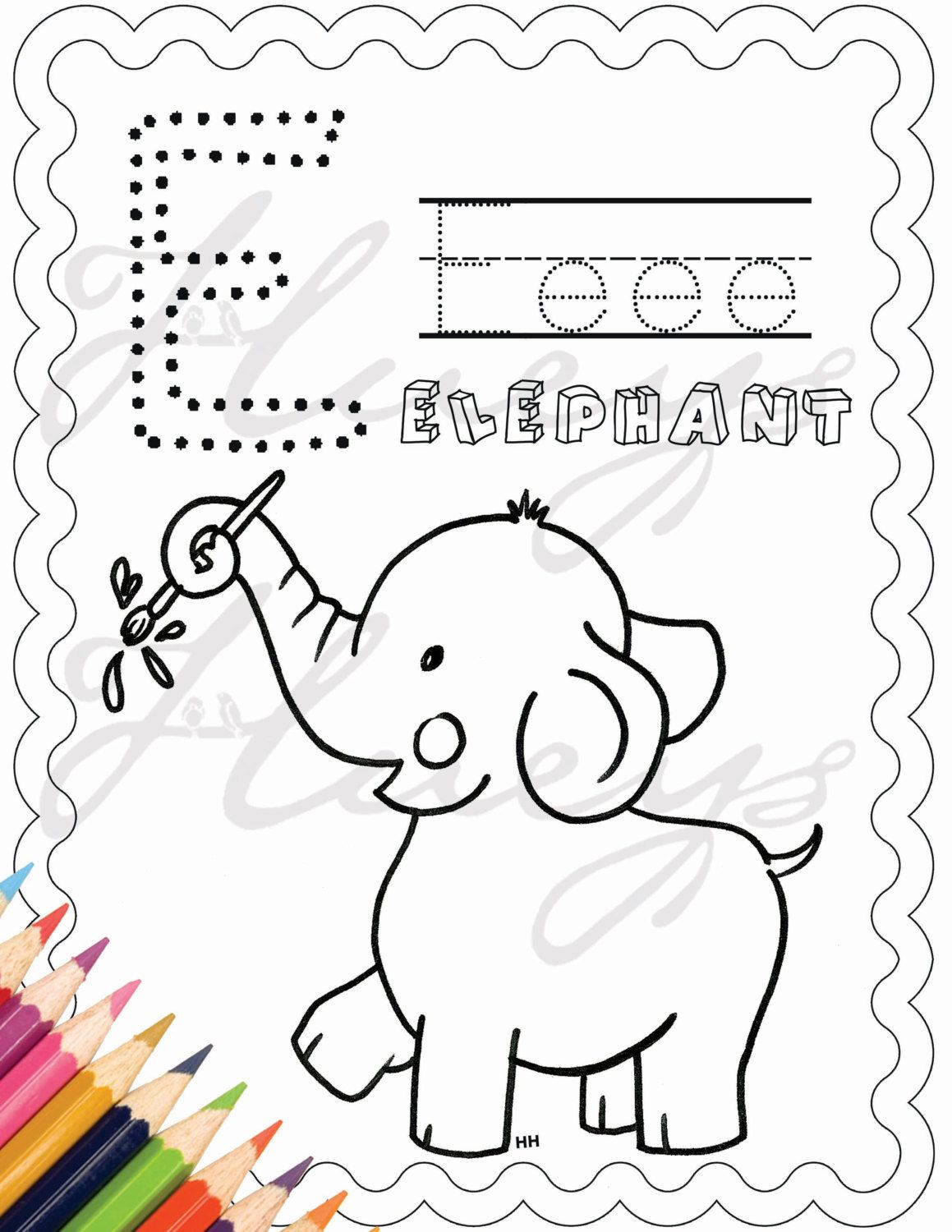 elephant coloring page activity alphabet Birthday Party Favor ...