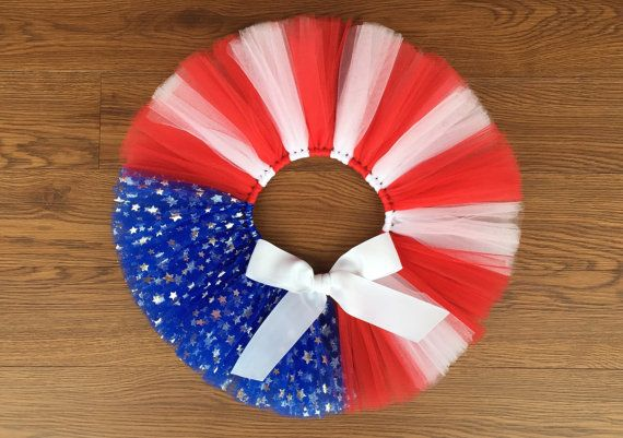 White 1 Claire's Kids One Size Tutu Skirt Red Blue Stars 4th Of July