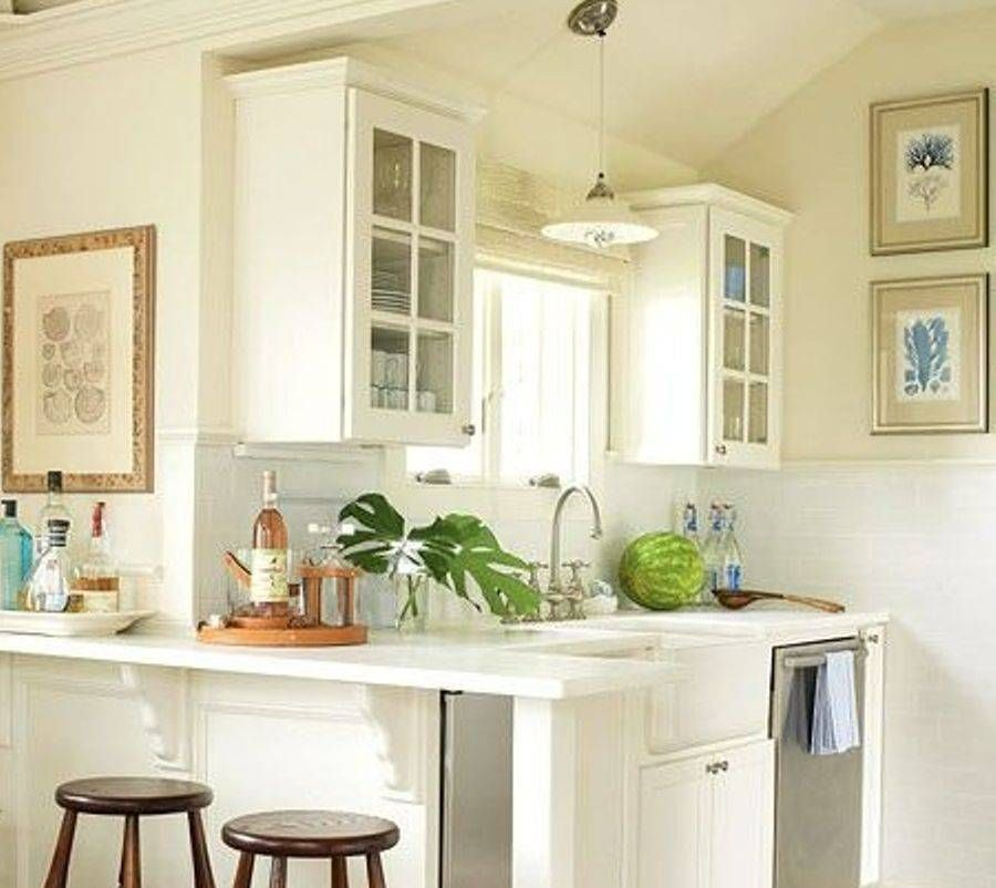 White cabinet practical small kitchen design layout for Tiny kitchen layout ideas