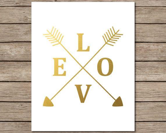 Or Love flèches imprimable - imprimable téléchargement instantané - faux or flèche Estampe - art du faux clinquant d'or - amour flèche art - art minimaliste