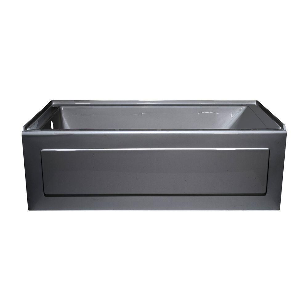 Lyons Industries Linear 5 ft. Left Drain Heated Soaking Tub in ...