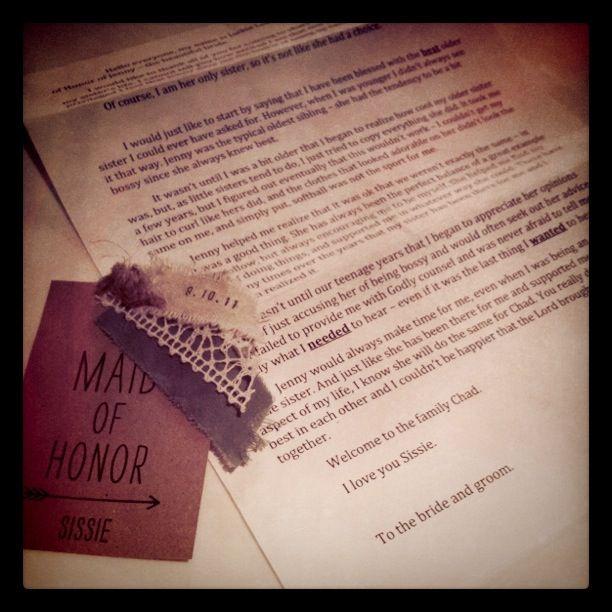 Maid Of Honor Speech.