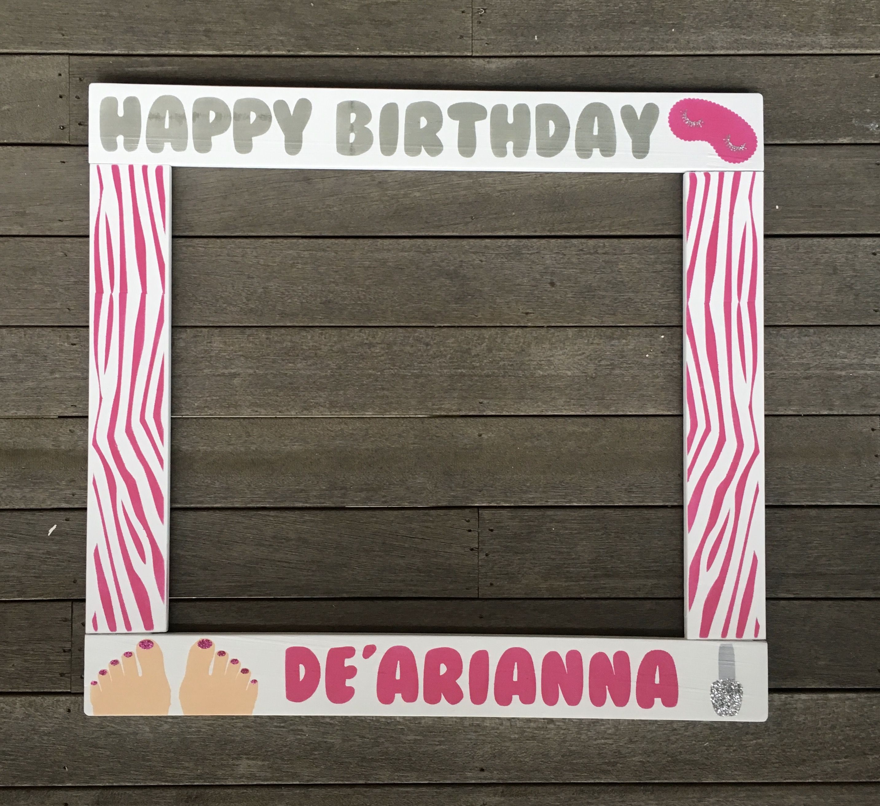 SPA PARTY PHOTOBOOTH - Birthday Photo Booth Frame - Wood Photobooth ...